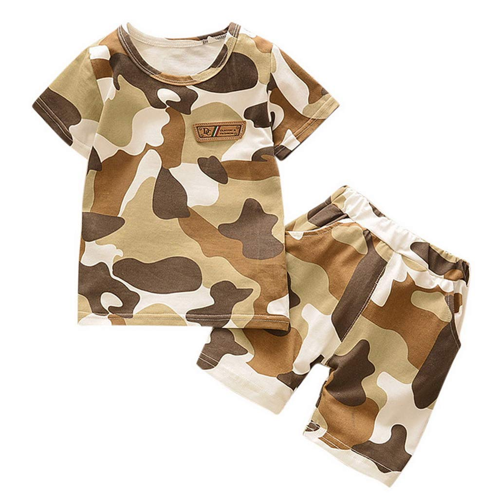 Toddler Kids Baby Boys Blouse T shirt Tops+Camouflage Shorts Outfits Clothes Set