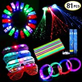 Party Favors for Kids Adults, Glow in The Dark Party Supplies, 81PCS Led Light Up Toys, 50 Glow Sticks, 20 Finger Lights, 4 Led Glasses, 4 Light Up Bracelets, 3 Flashing Lights Hair