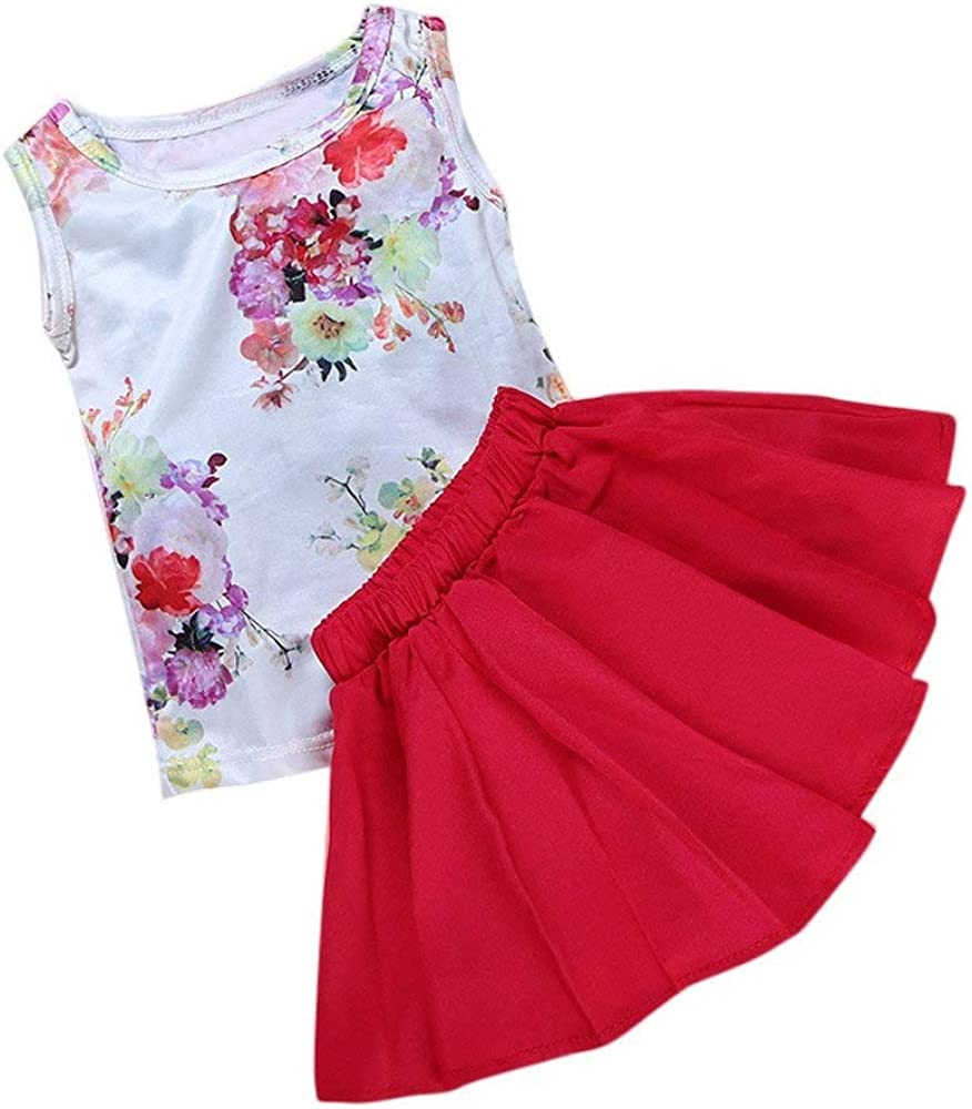 Color : Red, Size : 100 HUHUXXYY Baby Kids Girl Floral Tops Sleeveless T-Shirts+Red Shirtdress Outfits Sundress