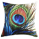 ChezMax Square Peacock Printed Stuffed Cushion Polyester Sateen Peach Stuffing Throw Pillow Insert For Club Pub Coffee House Bar Sofa Chair Couch