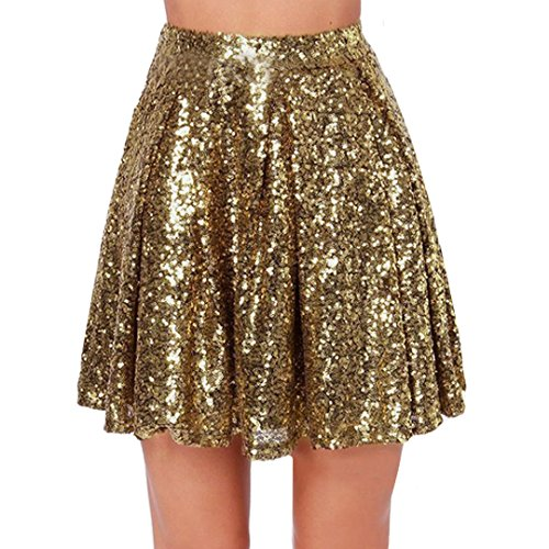 Adela Boutique Women Girl Glittery Gold Sequin Pleated Skirt Flared Metallic Fashion Mini Skirt S Sequin Petticoat