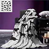 Labrador throw blanket Black Silhouettes of Pets in Various Positions Friendly Playful Gun Dogs miracle blanket Black and White size:51''x31.5''