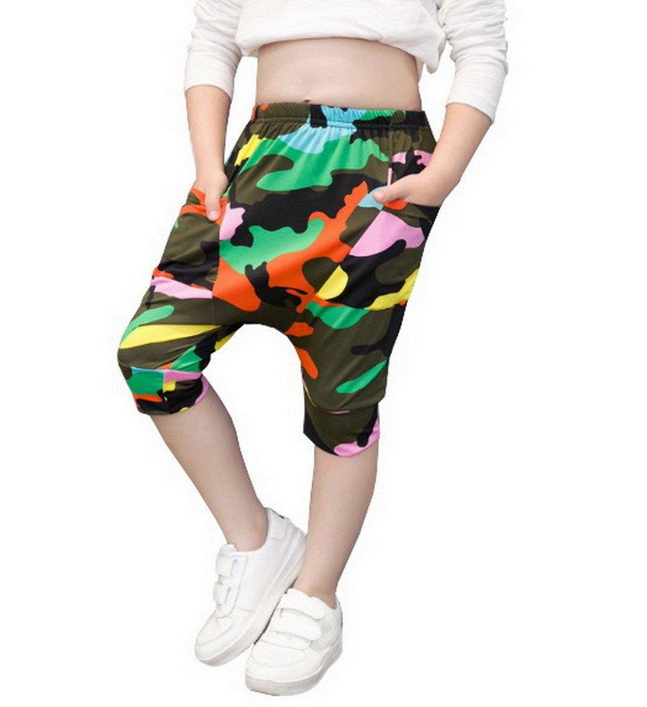 COMVIP Kids Summer Elastic Pattern Pockets Cropped Harem Pants Camouflage 130