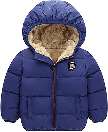 AMSKY ❤Toddler Kids Baby Boys Girls Zipper Long Sleeve Hoodies Tops Organic Cotton Thick Winter Coat Jackets Warm Outwear 140, Purple