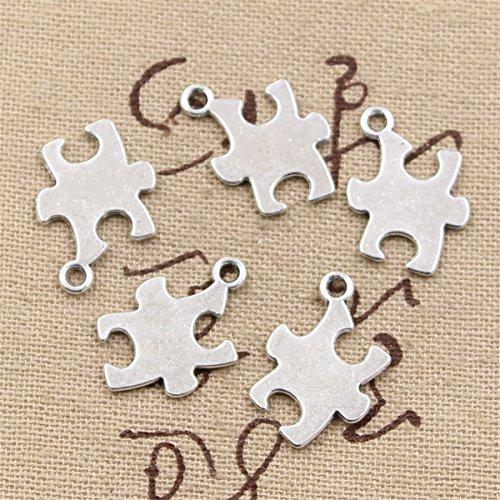 Puzzle Piece Autism Awareness 20x14mm Antique Making Vintage Tibetan Silver Zinc Alloy Pendant ()