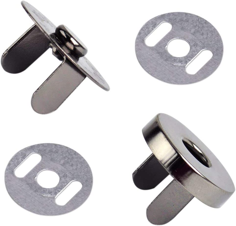 Clasp with Male and Female Parts 2 x 18mm Silver Magnetic Snap Fastener for Purses Press Stud Closure with 2 Metal Backing Washers and Crafts Bags Popper for Sewing and Clothing Repair