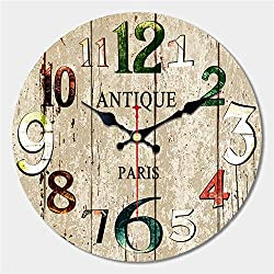 DE24SCX 3 Patterns Shabby Chic Vintage Clock Number Brief Balcony Kitchen Home Decor Watches Large Wall Art Clock No Sound,Brown Number,16 inch (40 cm)