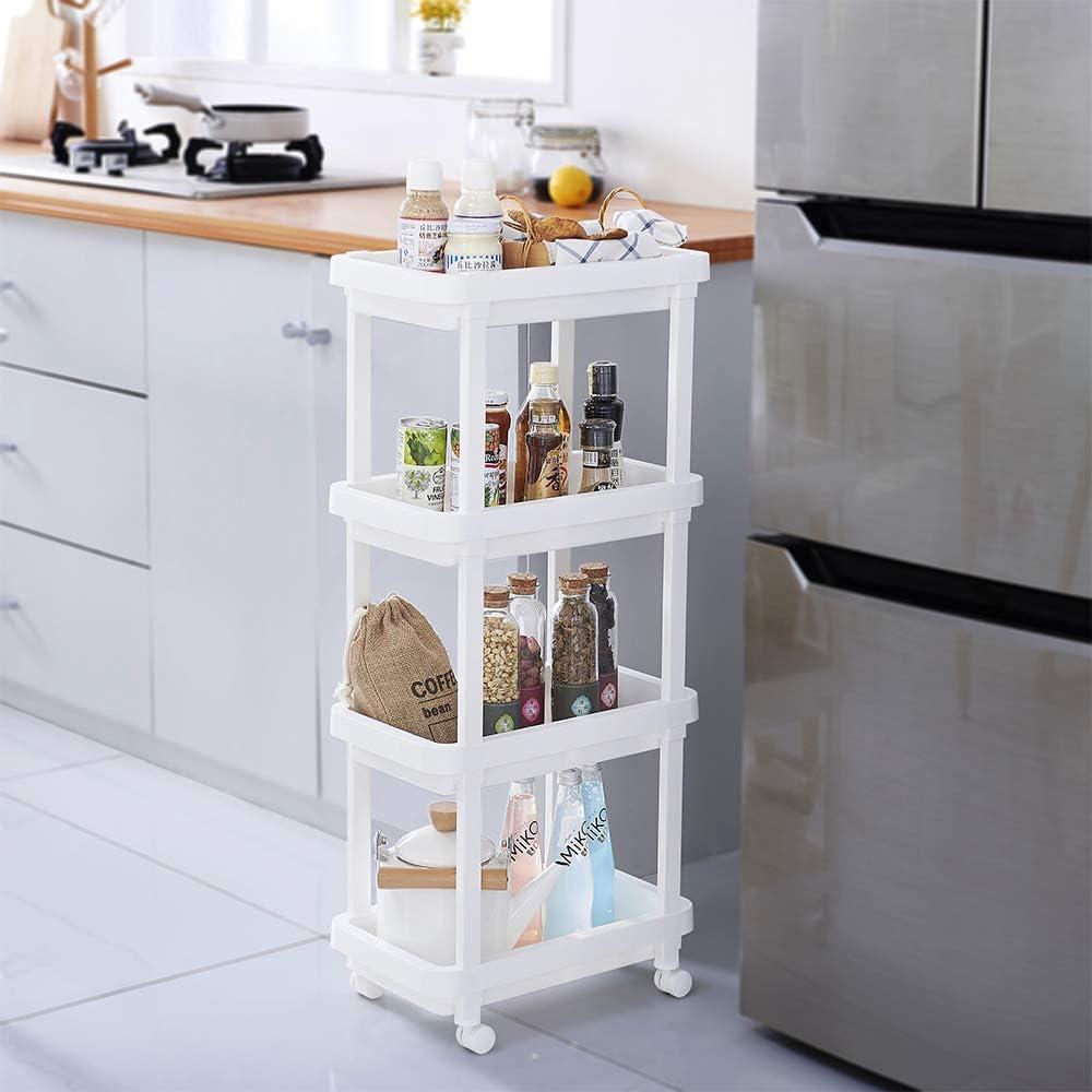 Aogist 4-Tier Slide Out Storage Cart Rolling Utility Cart Storage Shelf Rack for Kitchen Living Room Bathroom Laundry Room & Dressers