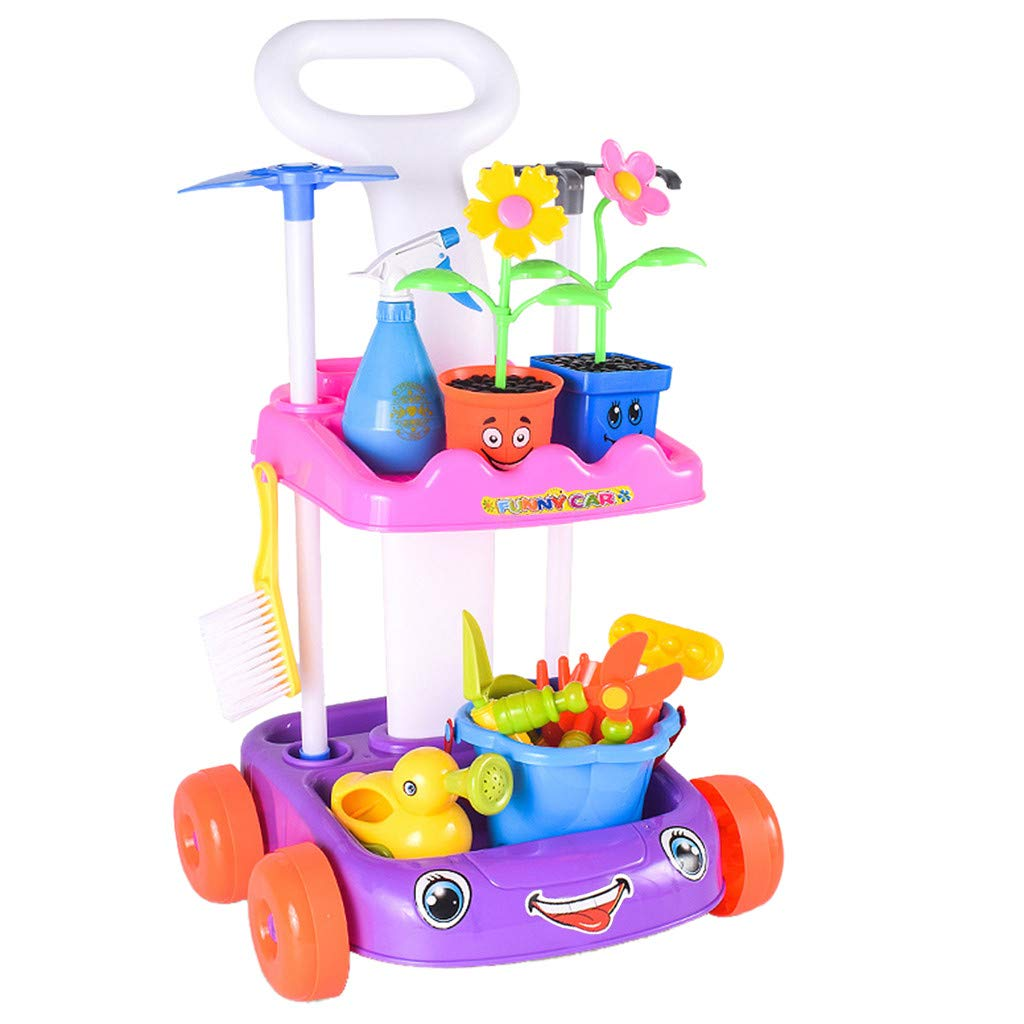 Grocery Organizer Children'S Fruit And Vegetable Cart Potted Garden Trolley Shopping Cart With Light Music Pretend Game Set Education Learning Toy Kitchen Toys Boy Girl Game Time (Garden(Purple)) by TKI-S