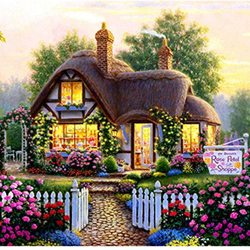 Blxecky 5D DIY Diamond Painting By Number KitsFairy tale cottage(35X35CM/14X14inch)