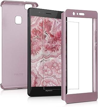 kwmobile Coque avec Protection Écran Compatible avec Huawei P9 Lite - Étui Rigide et Film Protecteur - Or Rose métallique