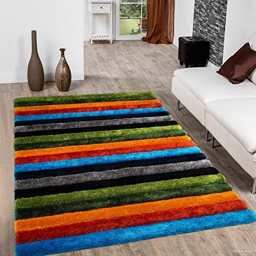 Allstar 5×7 Multi Color Modern and Contemporary Hand Carved Rectangular Shag Accent Rug with Abstract Parallel Stripe Design 4 11 x 6 11
