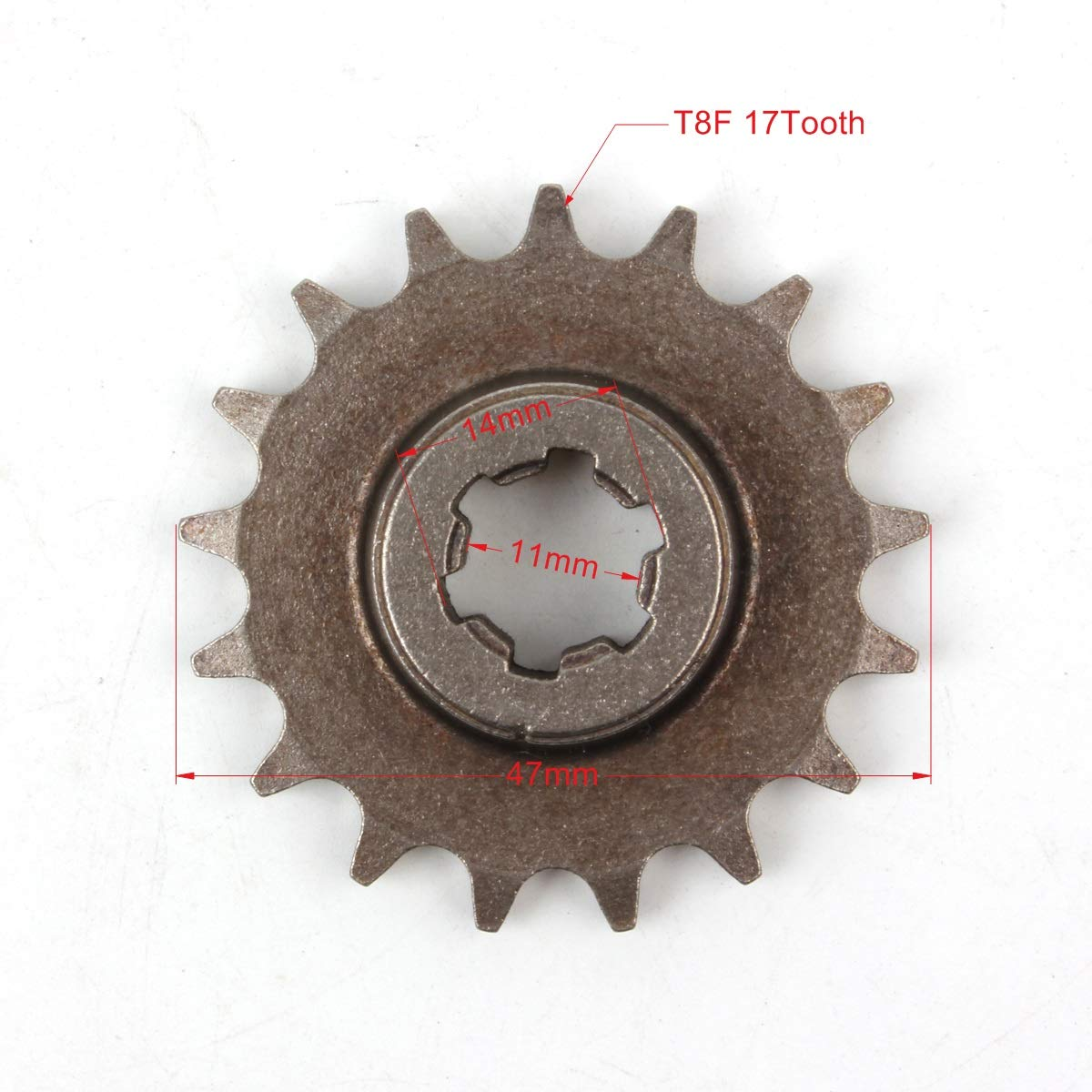 Pi/ñ/ón frontal de embrague Pro CAKEN T8F 17T cadena de pi/ñ/ón 47 cc 49 cc Dirt Bike Minimoto T8F paso 17 dientes