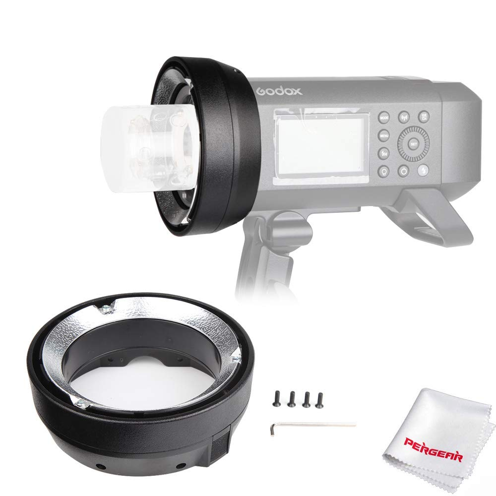 Godox AD400Pro Interchangeable Mount Ring Adapter for Elinchrom Mount Accessories with Pergear Cleaning Cloth