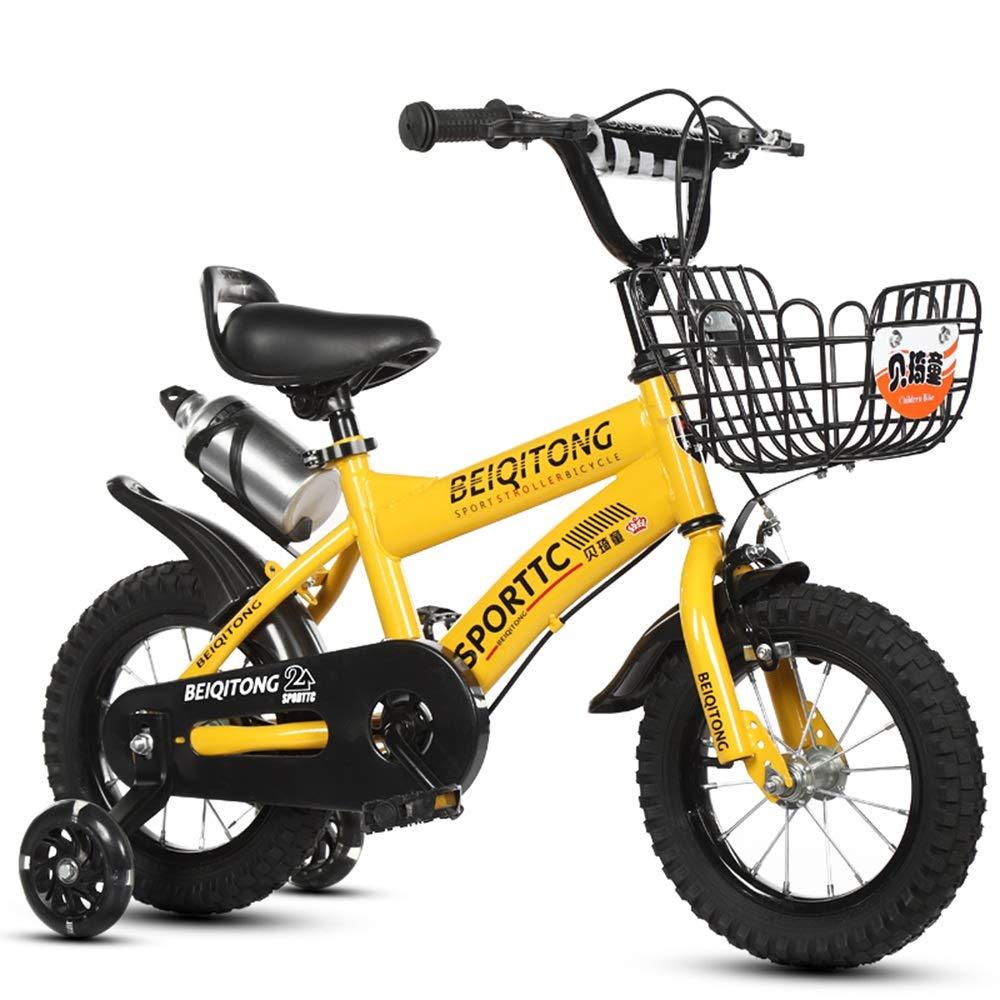 amarillo sports Axdwfd Infantiles Bicicletas Bicicleta for niños con Ruedas de Entrenamiento, tamaño 12 14 16 18 con estabilizador y Canasta 12in