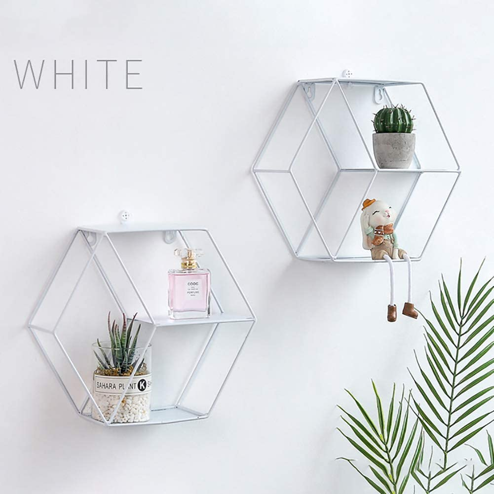 29x10x25.6cm Hexagonal Wall Hanging Shelf for Living Room Hexagon Geometric Shelf Bedroom and Office XIAMUSUMMER Hexagonal Wall Mounted Floating Shelves Black