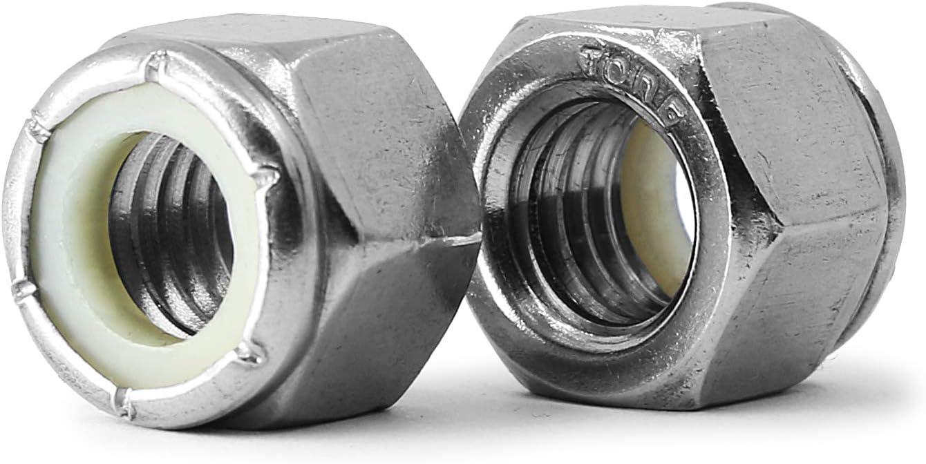 KONGKI #6-32 Lock Nut Stainless Steel Finish Hex 50 PCS 304 18-8 Stainless Steel with Nylon Insert