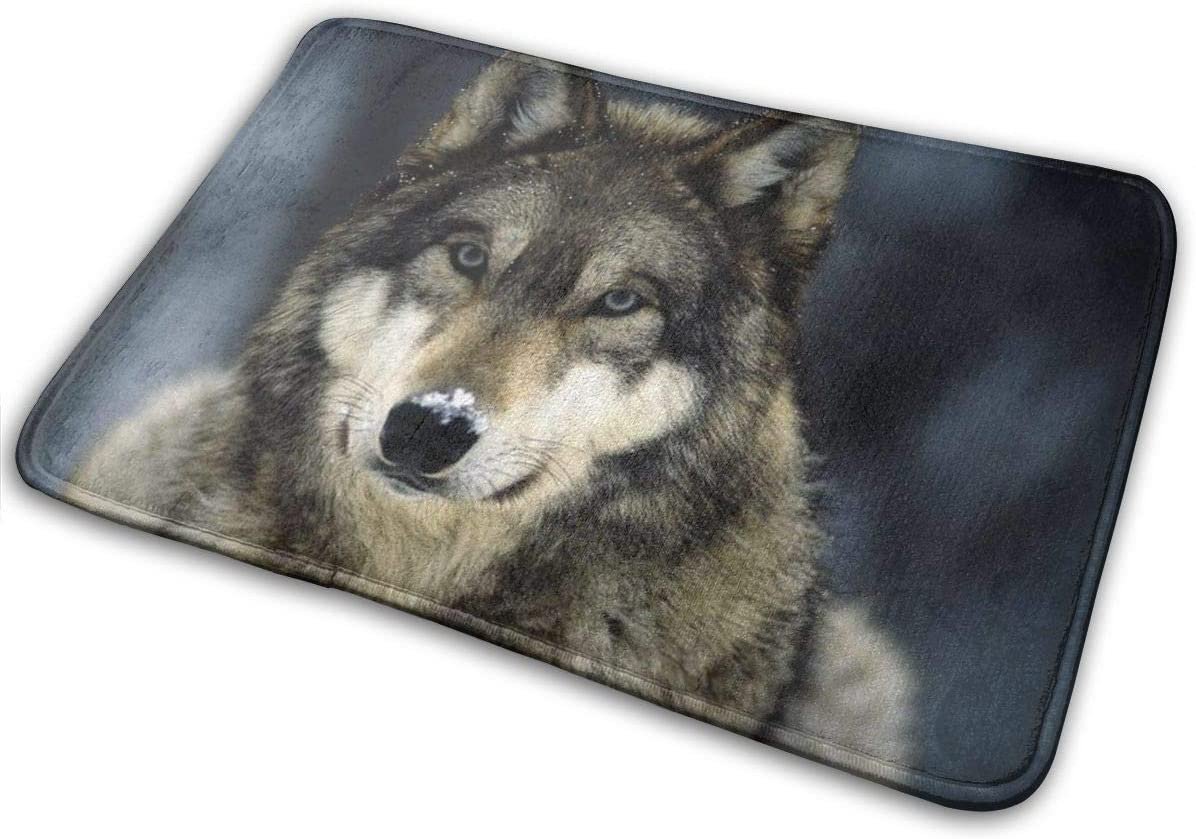 niBBuns Soft Memory Foam Bath Mat, Cute Grey Wolf Printed, Non Slip Bathroom Decor Rug Shaggy Bathroom Floor Carpet Absorbent, Super Cozy Machine Wash and Dry, 40 x 60 cm