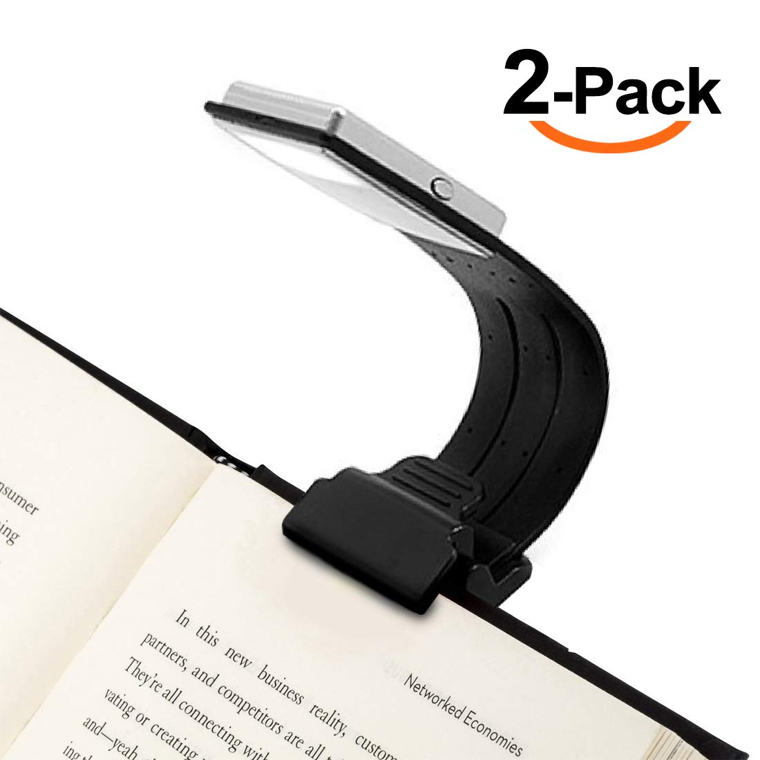[2-Pack] Clip On Book Light Reading Light USB Rechargeable Reading Lamp Eye Care Double As Bookmark Flexible With 4 Level Dimmable for Book eBook Reading in Bed, Kindle, iPad(Black)