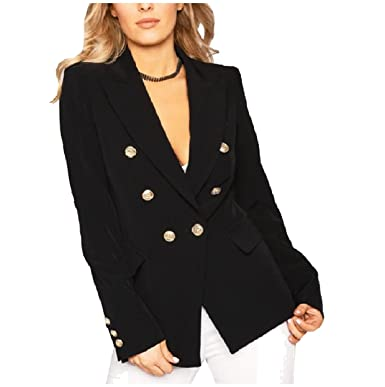 Tootless Women Double Breasted Blazer Long Sleeve Notch Collar