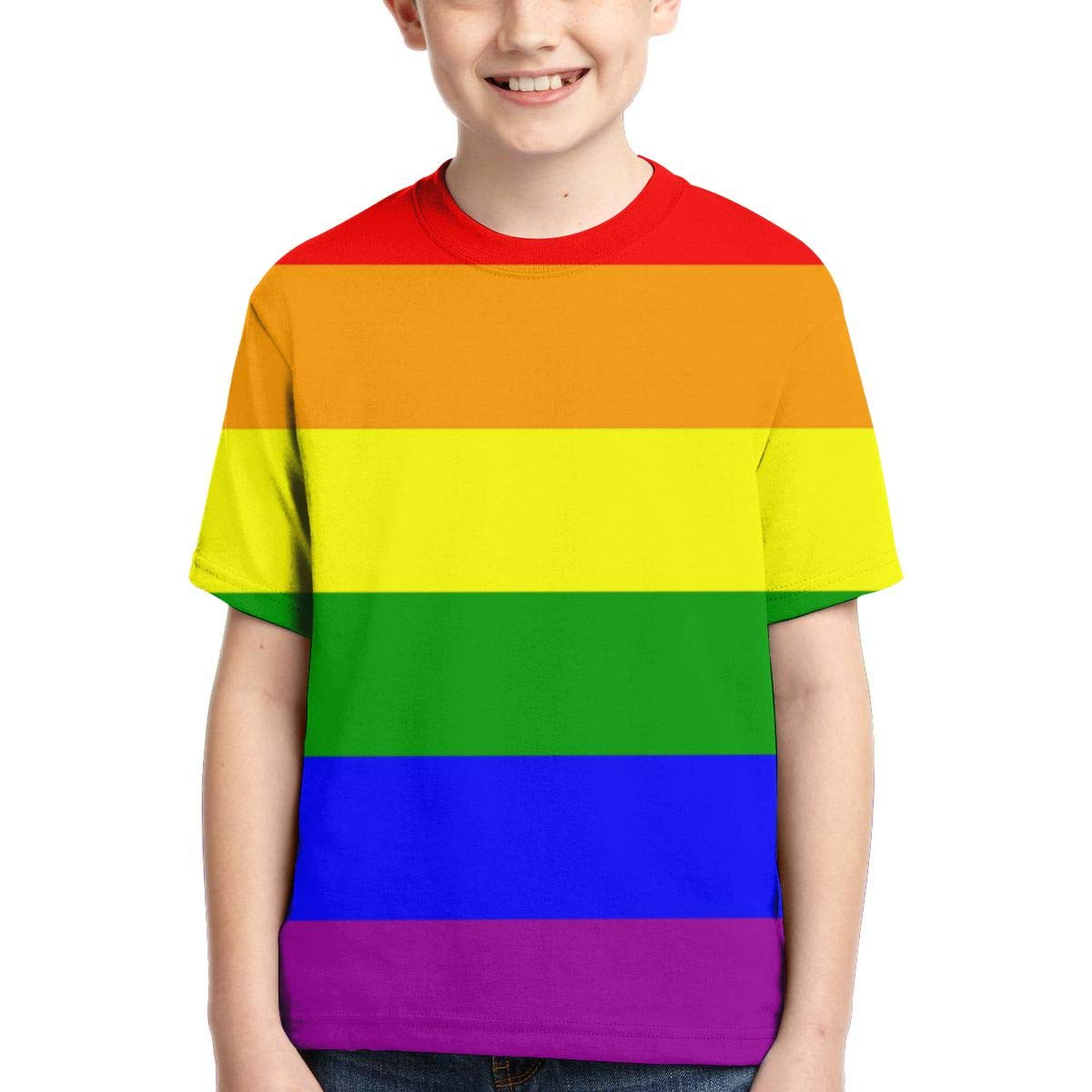 LGBT Pride Rainbow Flag Youth Fashion Tops Casual Short Sleeve Print T-Shirts for Boys and Girls