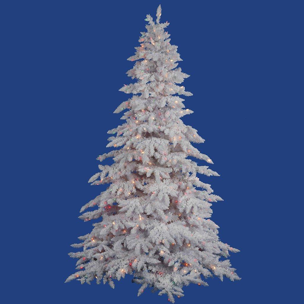 Vickerman Unlit Flocked Lime Fir Artificial Christmas Tree, 7.5 Feet