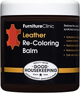 Furniture Clinic Leather Re-Coloring Balm   Non Toxic Leather Color Restorer for Furniture   16 Colors of Leather Repair Cream (Red), 8.5 fl oz