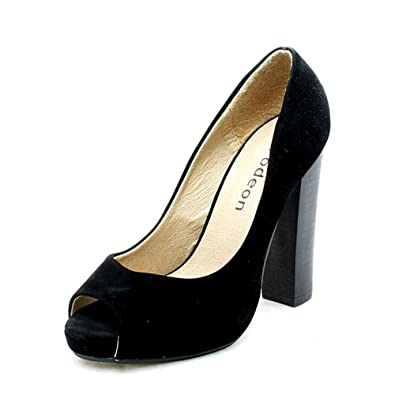 SendIt4Me Black Suedette Sparkly High Heel Platform Court Shoes