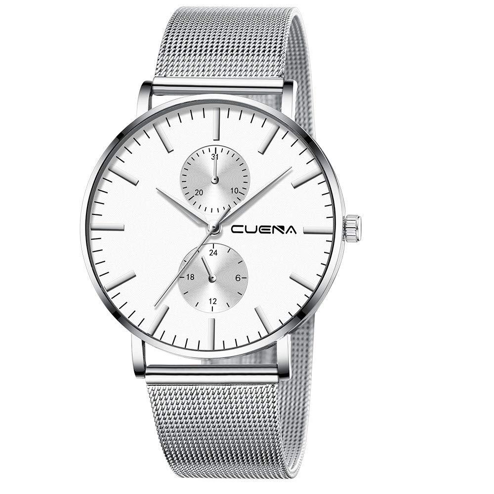 Minimalist Wrist Watches for Men, Unisex Analog Quartz Watch with Steel Mesh Strap 30m Waterproof by Bravetoshop(F)