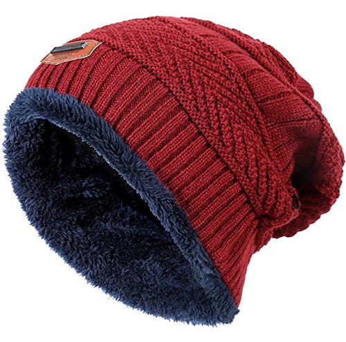 Winter Hats for Girls Boys Kids (5-14 Years) Warm Snow Knit Beanie Windproof HINDAWI Slouchy Skull Cap Red