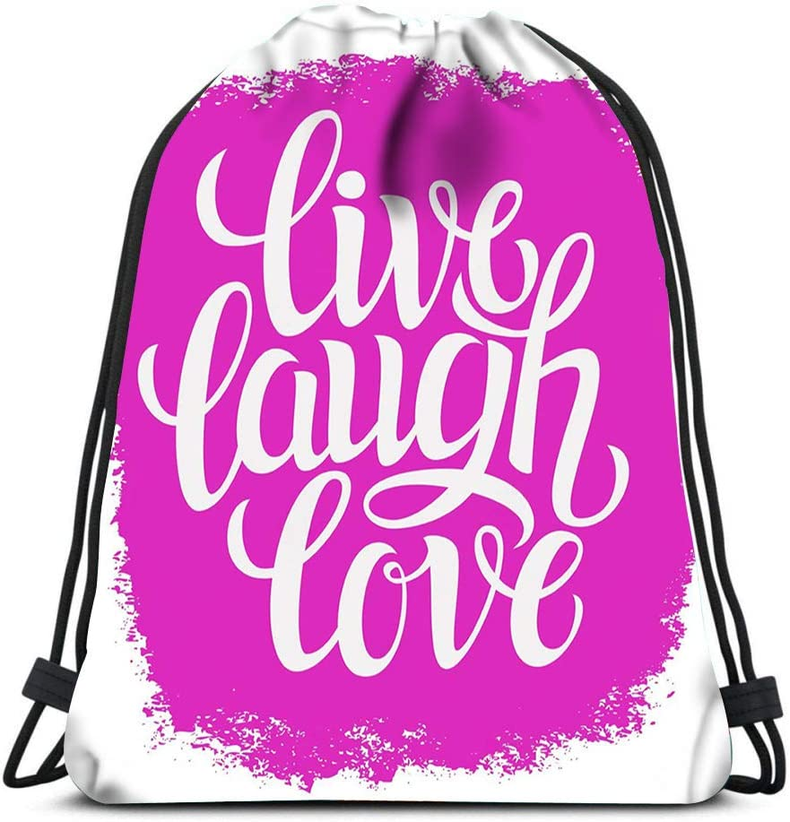 Drawstring Backpack Typography Poster Inspirational Quote Live Laugh Love Laundry Bag Gym Yoga Bag
