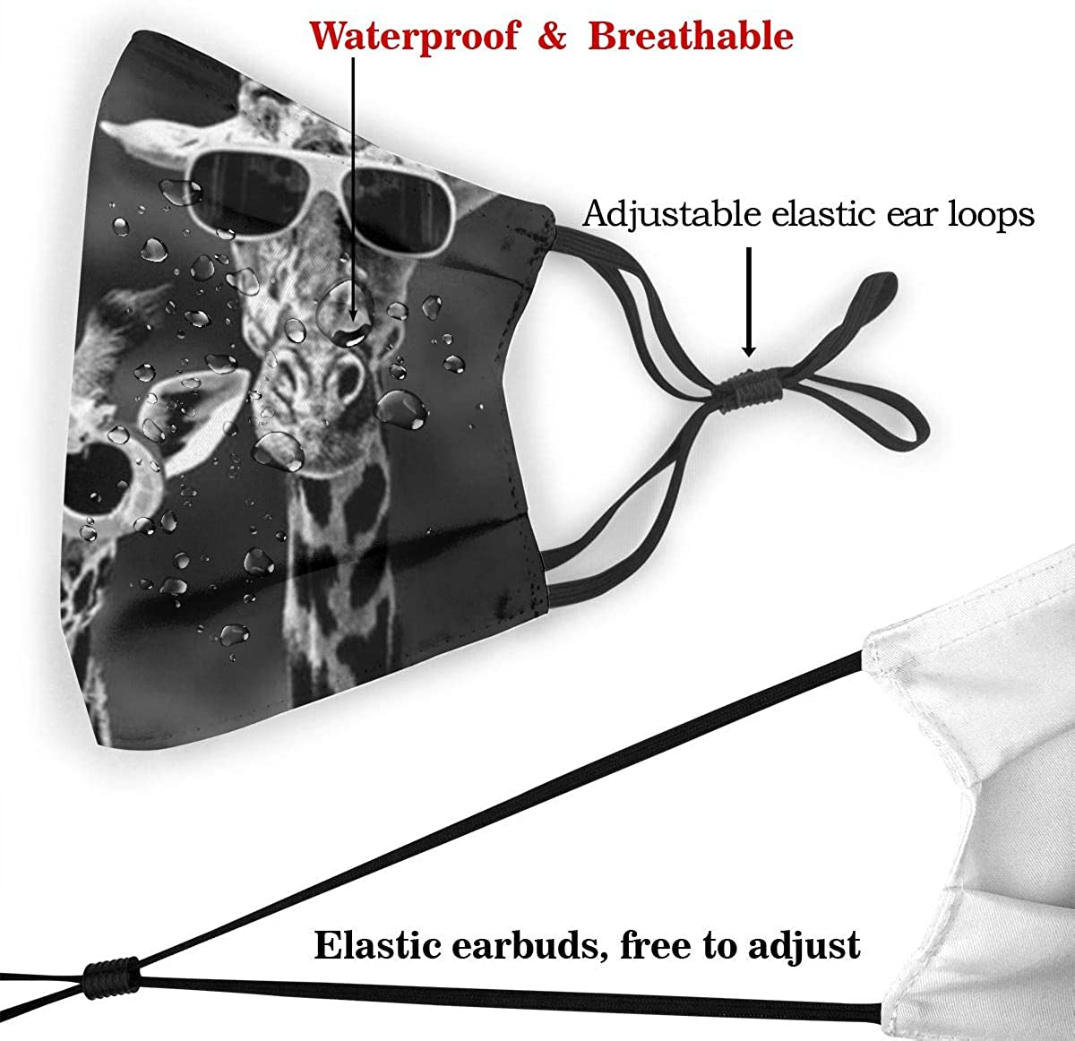 LKQTH Cool Giraffe Family Face MA-SK mit Filter Sicherheitsmasken wiederverwendbar