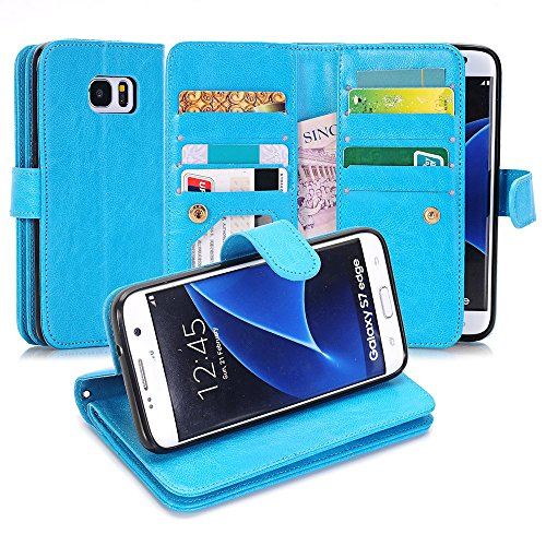 Galaxy S7 Edge Case, Asstar [Card/Cash Slots] Built-in 9 Slots Heavy Duty Protective Shock Resistant Luxury PU Leather Case Flip Cover case for Samsung Galaxy S7 Edge (BLUE)