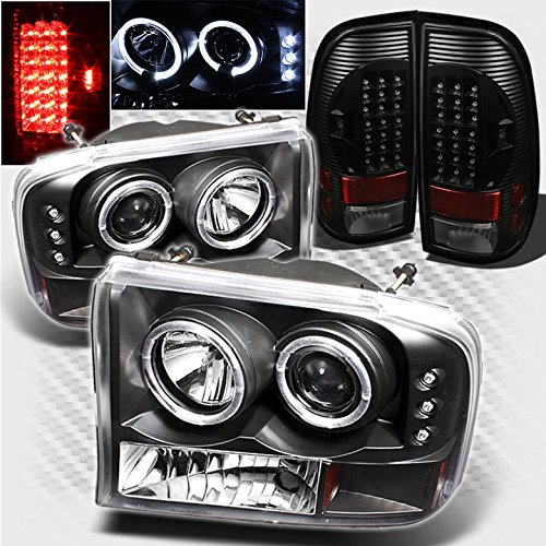 F550 Projector Headlights (For 1999-2004 Ford F250/F350/F450/F550 Black Halo LED Projector Headlights + LED Tail Lights 2000 2001 2002 2003)