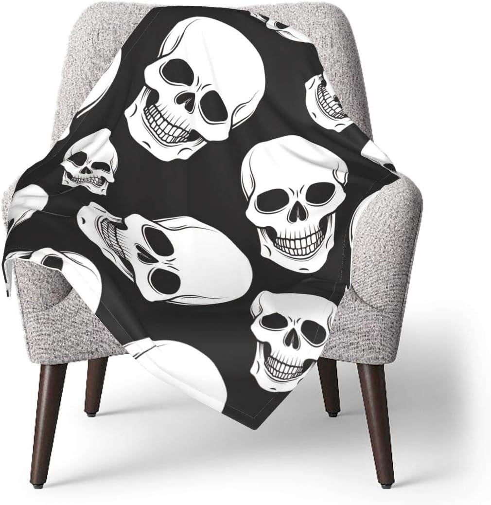 Gray and White Skulls Baby Blanket Soft Warm Receiving Blanket for Boys Girls Newborn