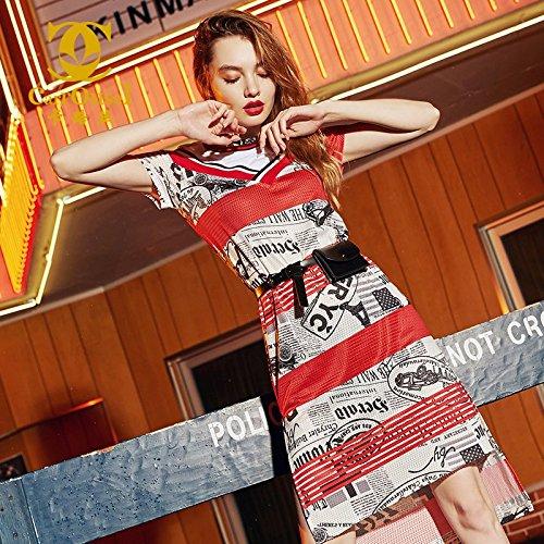 Mixte MiGMV imprime T Robe Femme Style 2018 l't l'usure Genou moyennement Couleur Shirt S lache Robes Rouge Longue Couture de Nouveau Robe 155 1Znqrf71