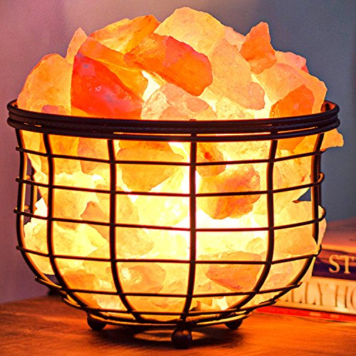 Amethya Himalayan Salt Lamp with Natural Crystal Salt Rock (Iron Basket)