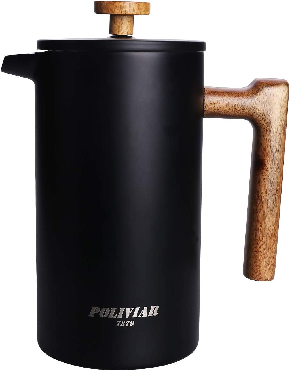 POLIVIAR French Press Coffee Maker, 34 oz Coffee Press with Teak Wood Handle, Double Wall Insulation & Dual- Filter Screen, Food Grade Stainless Steel for Good Coffe and Tea (Vintage)