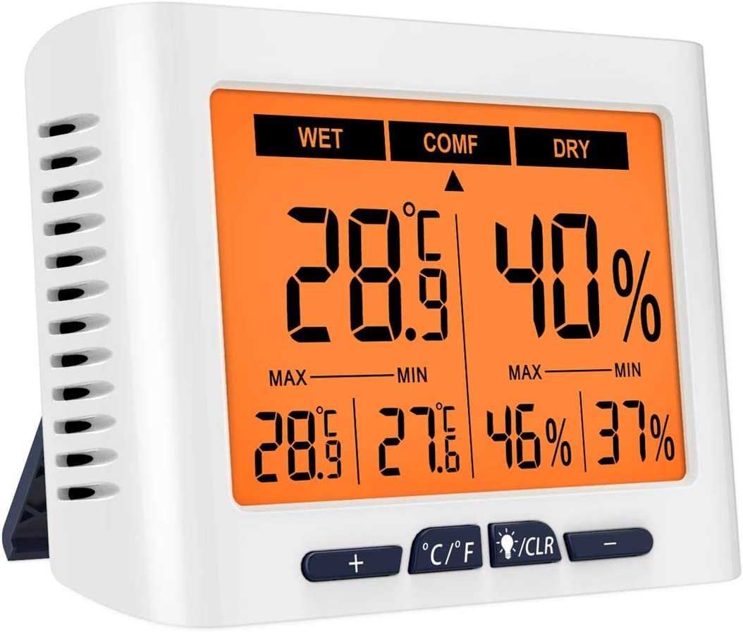 (Upgraded) Brifit Indoor Thermometer with Calibration, Humidity Gauge with Jumbo LCD Screen and Backlight, Accurate Humidity Monitor for House, Office, Greenhouse, Home