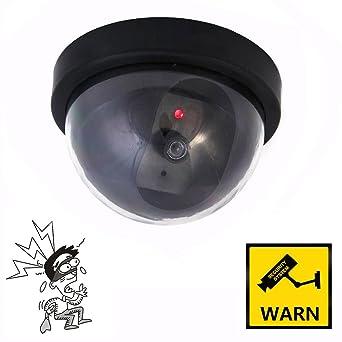 Domo Cámara de vigilancia falsa con led intermitente para interior y exterior videocámara Antirrobo