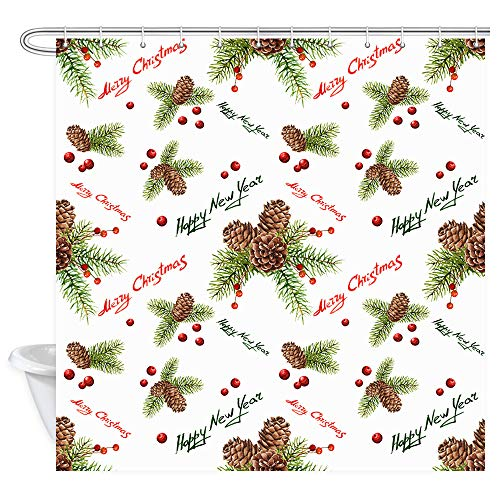 Merry Christmas Shower Curtain, Watercolor Xmas Pattern with Pine Cones and Berries Bath Curtains, Polyester Fabric New Year Bathroom Accessory with Shower Curtain 12PCS Hooks, 69X70IN (Pine Cone Fabric Shower Curtain)
