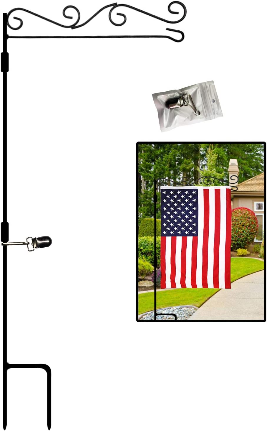 "Garden Flag Stand Premium Garden Flag Holder Pole with Anti-Wind Clip Black Metal 38""Hx15.7""W Weather Proof Paint for Outdoor Garden Lawn without Flag"