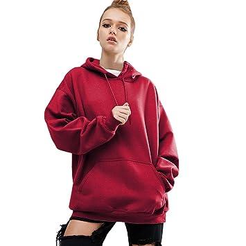 LuckyGirls Mujer Talla Grande Camisetas Manga Larga Sudaderas con Capucha Color Sólido Rojo Casual Tops Blusa Sudaderas Camisas (S~5XL): Amazon.es: Deportes ...