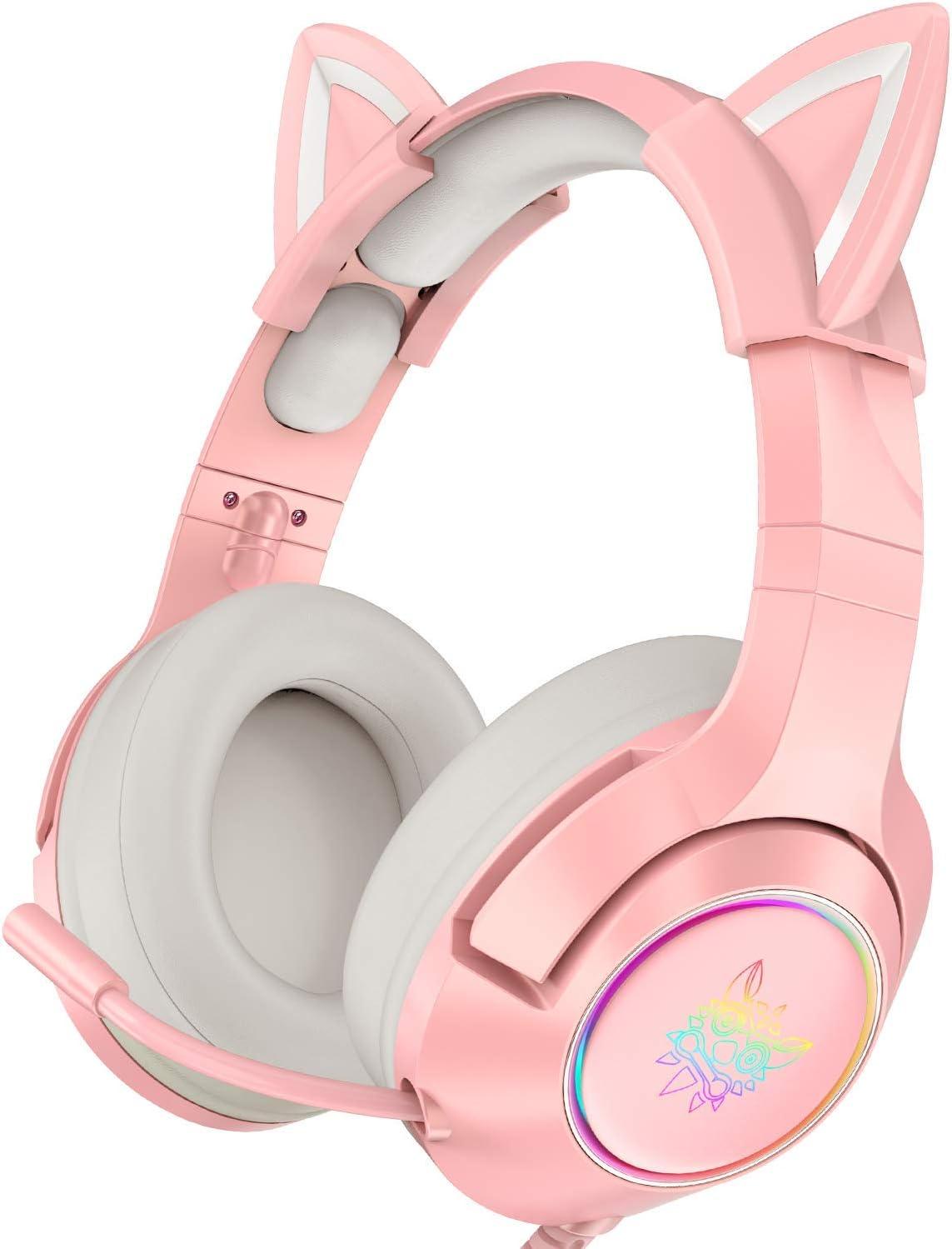 Auriculares para juegos de color rosa con orejas de gato desmontables, adecuados para PS5, PS4, Xbox One (sin adaptador), Nintendo Switch, PC, sonido envolvente, luz LED y micrófono