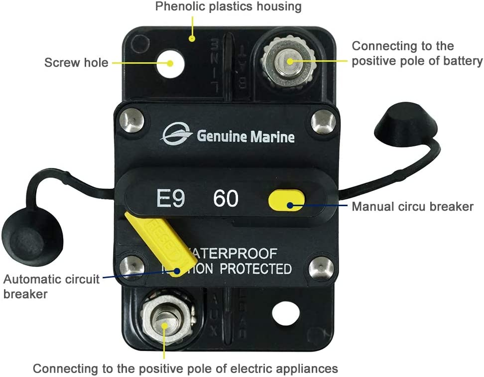 By Genuine Marine 12V-42V DC Waterproof 40 Amp Surface-Mount Circuit Breakers with Manual Reset 40A