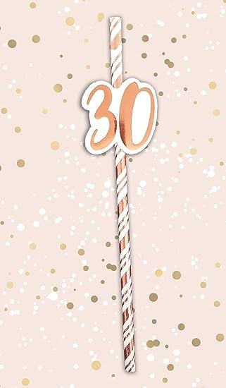 Alandra Cumpleaños STRAW-30 30th Pajitas de cumpleaños Crema ...