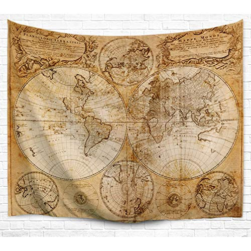 - HEBE Tapestry Wall Hanging Antique World Map Painting Wall Tapestry Art for Bedroom Living Room Dorm Wall Decor,60