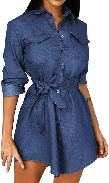 Lenfesh Azul Mujer Otoño/Invierno Color sólido Cuello de Solapa Simple Botones de Manga Larga Camisa Vaquera con cinturón Arco Mini Vestido: Amazon.es: Ropa y accesorios