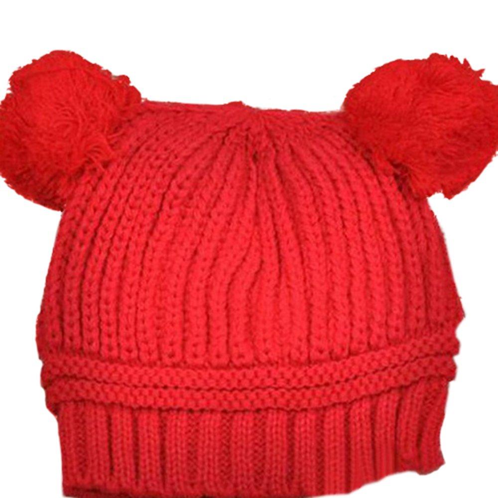 Baby Girls Boys Kids Knit Cap Winter Warm Hat (Red) Sanwood