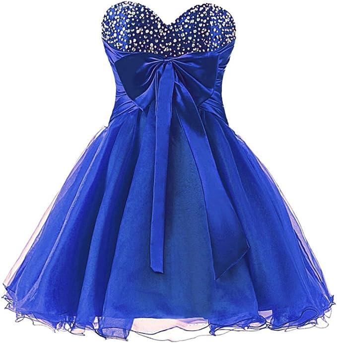 Zorayi Damen Organza Perlen Kurze Abendkleid Ballkleid Abschlussballkleider Amazon De Bekleidung